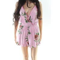 Angie Pink Women's Size Medium M Striped Floral Print Romper