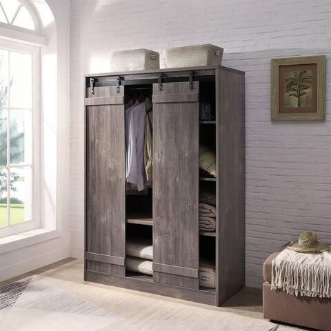 AOOLIVE Bellarosa Wardrobe, Weathered Gray Oak Finish