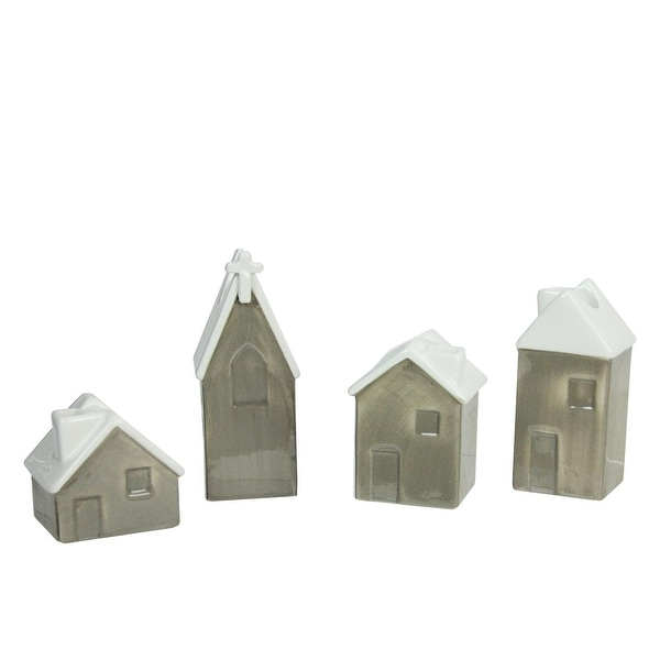 """Set of 4 Church and Houses Advent Christmas Taper Candle Holders 2.25"""" - 4.75"""" - brown"""