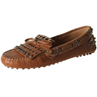 Car Shoe Womens Leather Studded Driving Moccasins - 36