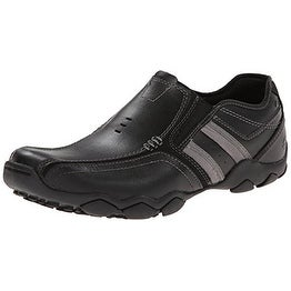 Skechers USA Men's Diameter-Zinroy Slip-On Loafer,Black Leather,7.5 M US - Black Leather