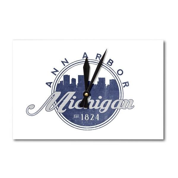 Ann Arbor Michigan Skyline Seal Blue Lantern Press Artwork Acrylic Wall Clock Free Shipping On Orders Over 45