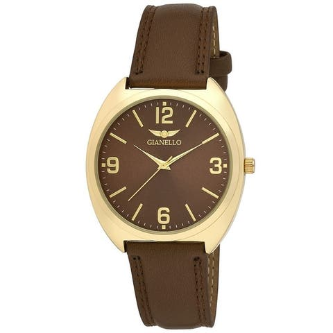 Gianello Mens Sochi Easy Read Dial Vegan Leather Strap Watch