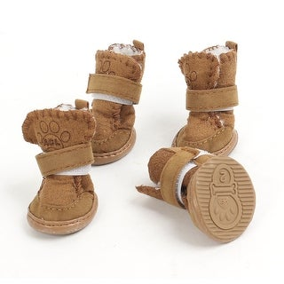 Unique Bargains 2 Pairs Coffee Color Hook Loop Fastener Winter Pet Dog Puppy Booties Shoes XS