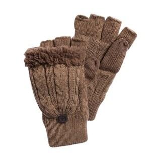 Muk Luks Gloves Mens Fingerless Flip Top Stylish One Size