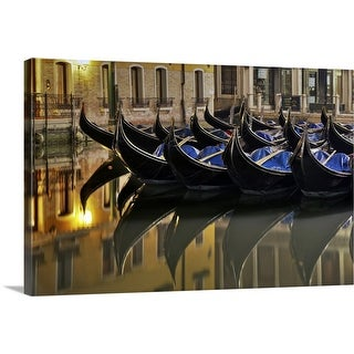 """Gondolas on canal in Venice"" Canvas Wall Art"