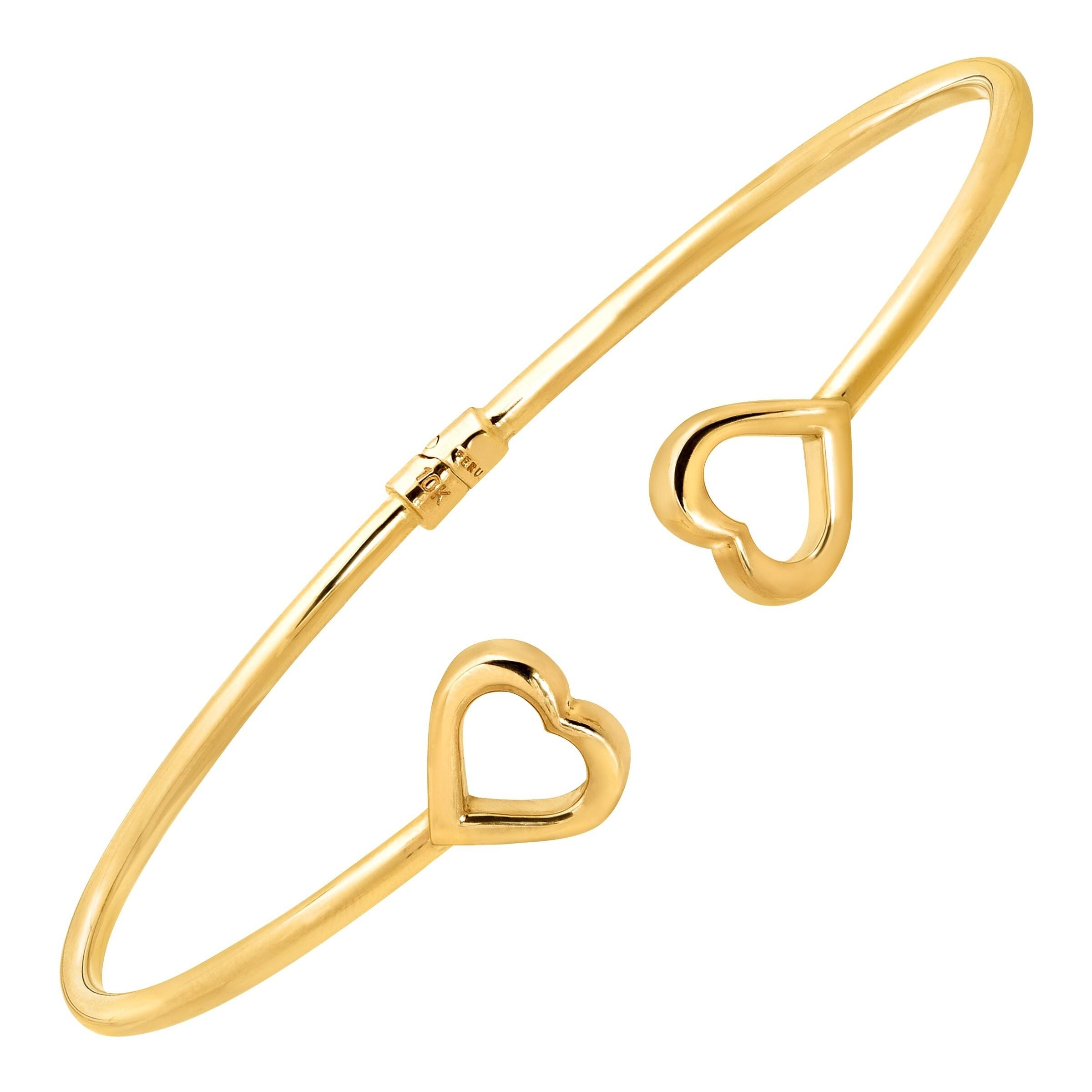 7.25in 10k Yellow Gold Heart Chain Bracelet
