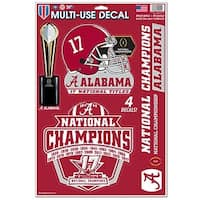 Alabama Crimson Tide 2017-18 National Champions 11 x 17 Multi Use Decal Sheet