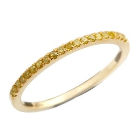 Brand New Round Brilliant Cut Real Yellow Diamond Half Eternity Anniversary Band