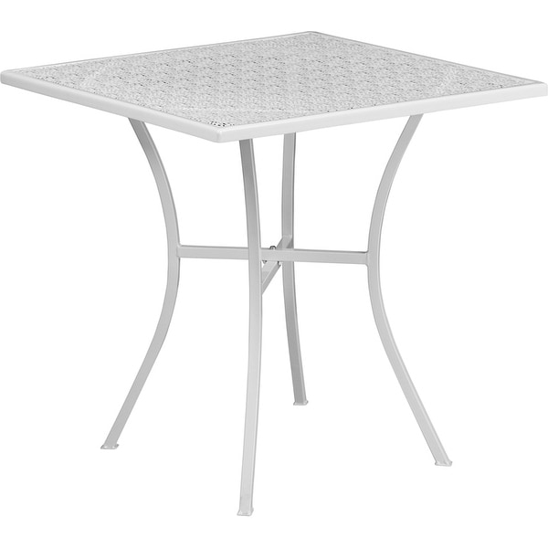 Westbury Square 28'' White Steel Table for Indoor/Outdoor/Patio/Bar/Restaurant