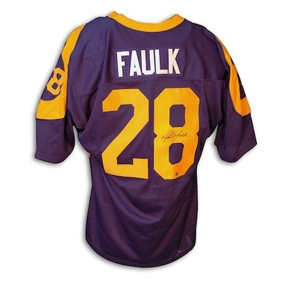 finest selection 58c40 f8b71 Autographed Marshall Faulk Throwback Blue Rams Jersey