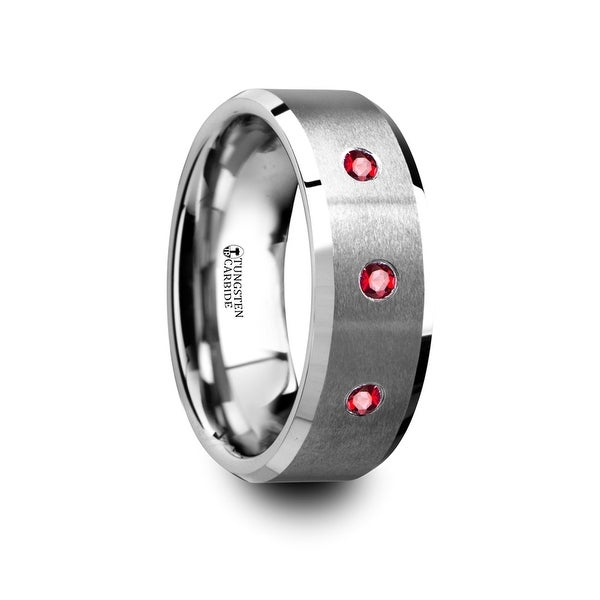 THORSTEN - NEREUS Brushed Tungsten Flat Wedding Band with Polished Beveled Edges & Rubies