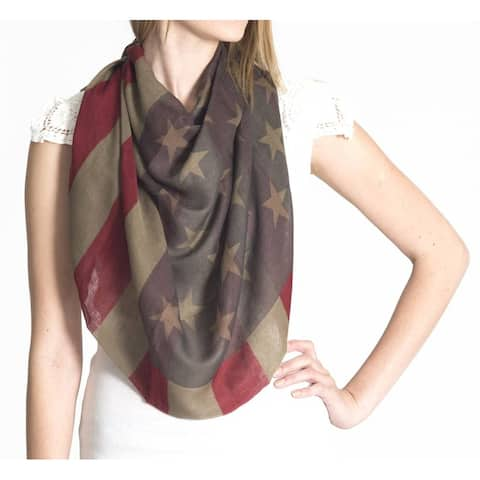 Long American Flag Square Scarf (2 PACK), Olive