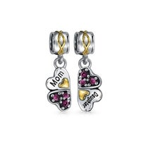 932338f18 BFF Mother Daughter Puzzle 2 Piece Split Heart Shape Pink Crystal Bead  Charm Sterling Silver For