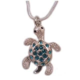 """Charming Shark Girls Bling Turtle on Chain Necklace 18"""" Blue"""