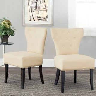"Safavieh Dining Gramercy Cream Dining Chairs (Set of 2) - 22.4"" x 24.6"" x 37"""