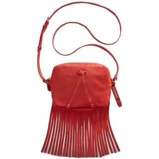 Lucky Brand Womens Kyle Mini Crossbody Handbag Leather Fringe - Ruby Red - small