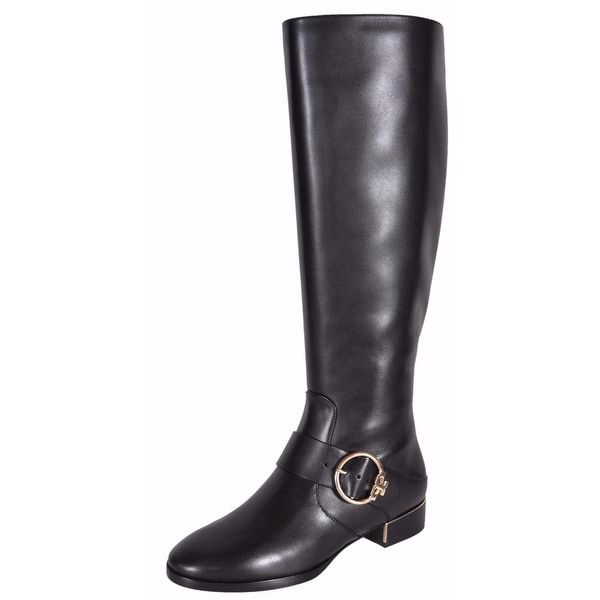 4f63a59cf Tory Burch Women  x27 s Black Leather Sofia Knee High T Logo Riding Boots