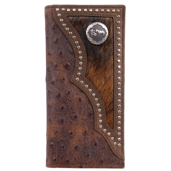 3D Western Wallet Mens Leather Rodeo Ostrich Print Brown - One size
