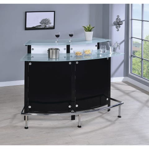 Strick & Bolton Mangan Black/ White Acrylic and Glass Bar Table