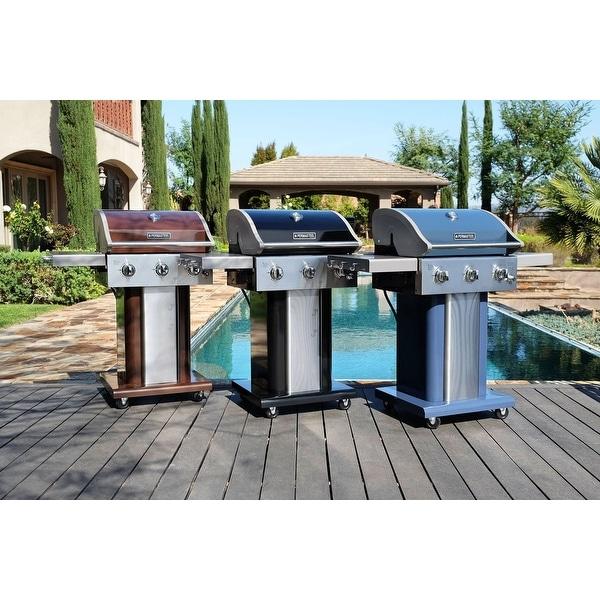 Permasteel 3 burner grill with folding side shelves. Opens flyout.