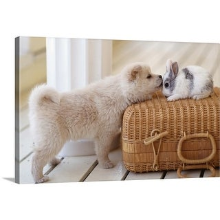 """""""Puppy and rabbit"""" Canvas Wall Art"""