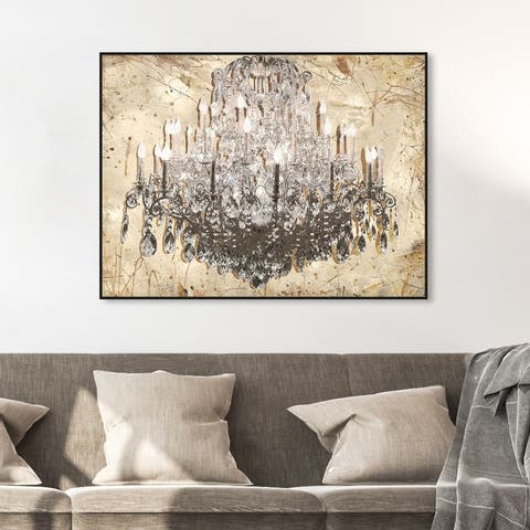 Oliver Gal 'Golden Antique Chandelier' Fashion and Glam Wall Art Framed Canvas Print Chandeliers - Gold, Gray