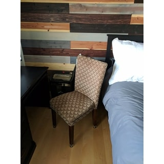 HomePop Modern Parson Blue/ Chocolate Damask Diamond Fabric Dining Chair
