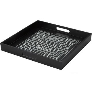 "15.5"" Amitola Black and Cream Decorative Square Serving Tray with Handles"