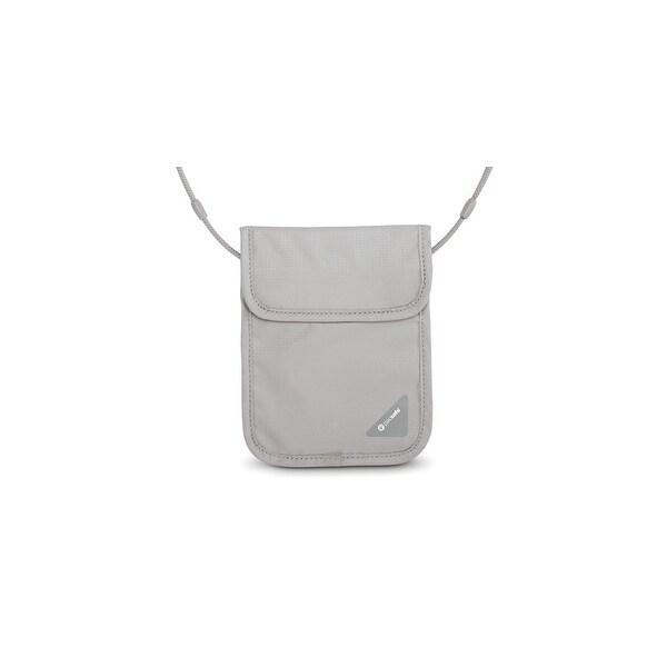 Pacsafe Coversafe X75-Neutral Grey RFID Blocking Neck Pouch w/ Flap Closure