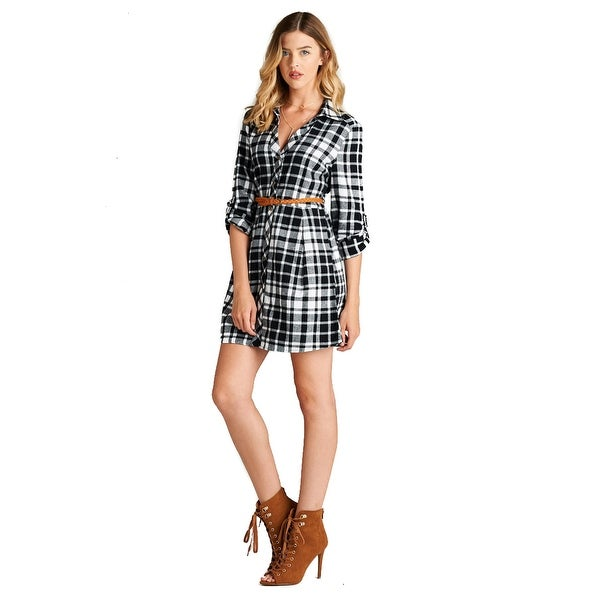 Simply Ravishing Women's 3/4 Roll-Up Sleeve Button Down Plaid Belted Shirt Dress