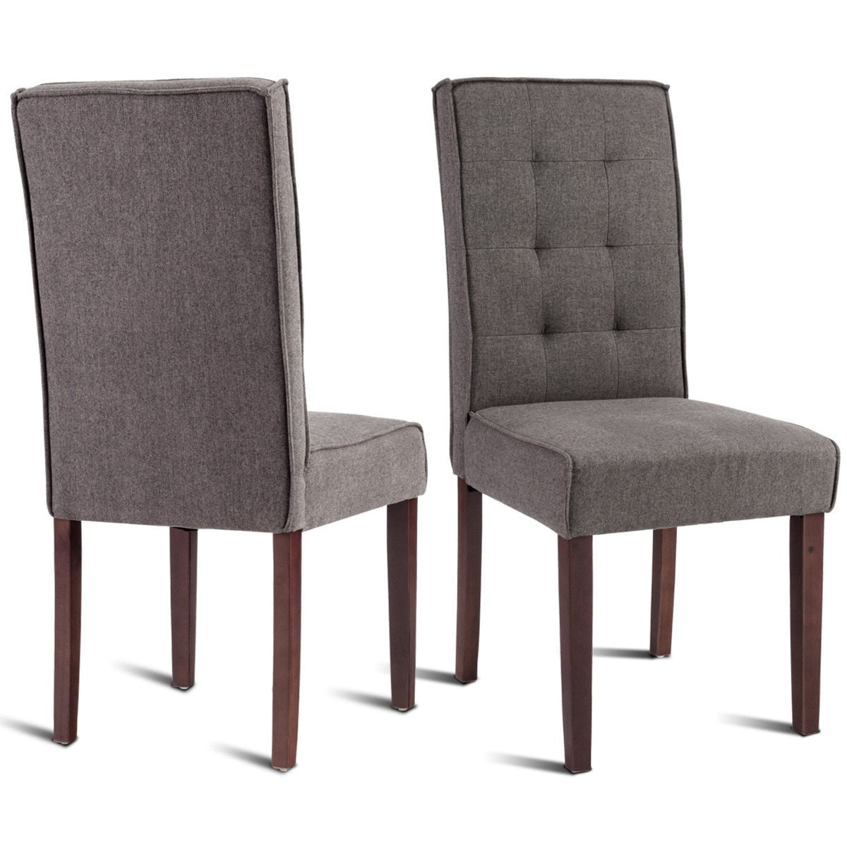 Sensational Gymax Set Of 2 Parson Dining Chair Linen Fabric Upholstered With Solid Wood Legs Brown Ncnpc Chair Design For Home Ncnpcorg