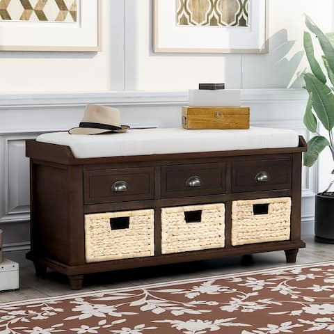 Storage Bench with 3 Drawer&3 Rattan Basket&Removable Cushion, White