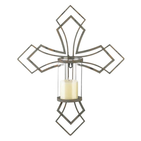 Ancient Contemporary Cross Candle Wall Sconce
