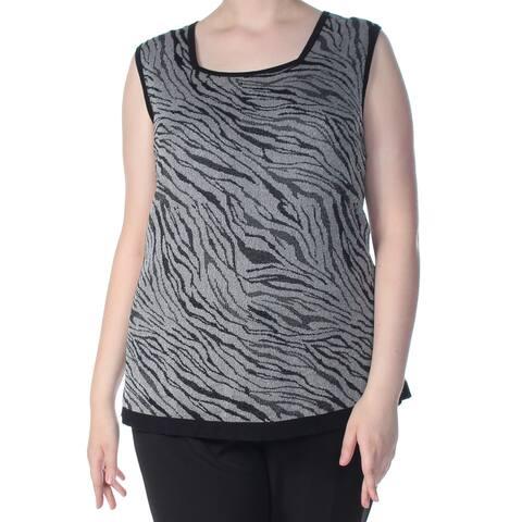 KASPER Womens Black Animal Print Sleeveless Square Neck Top Size 2X