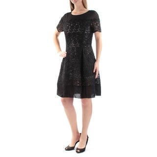 Womens Black Short Sleeve Above The Knee Pleated Cocktail Dress Size: 10