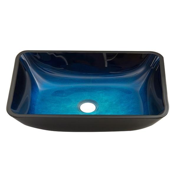 VIGO Turquoise Water Glass Rectangular Vessel Bathroom Sink. Opens flyout.