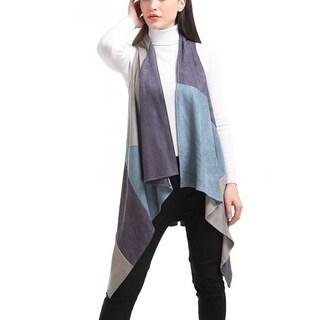 Mad StyleFaux Suede Patchwork Long Vest (Option: One size - Khaki)