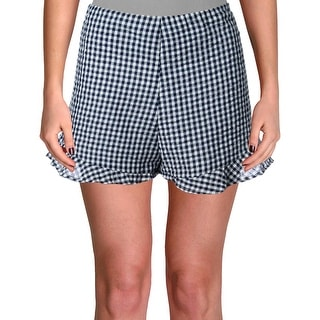 Link to Aqua Womens Casual Shorts Flounce Hem Checkered - Navy/White - M Similar Items in Women's Shorts