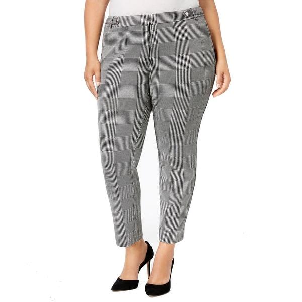 Calvin Klein Gray Womens Size 22W Plus Plaid Ankle Dress Pants