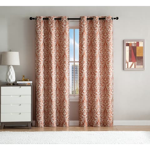 """VCNY Home Sophie Woven Jacquard Window Panel Pair - 38"""" x 96"""""""