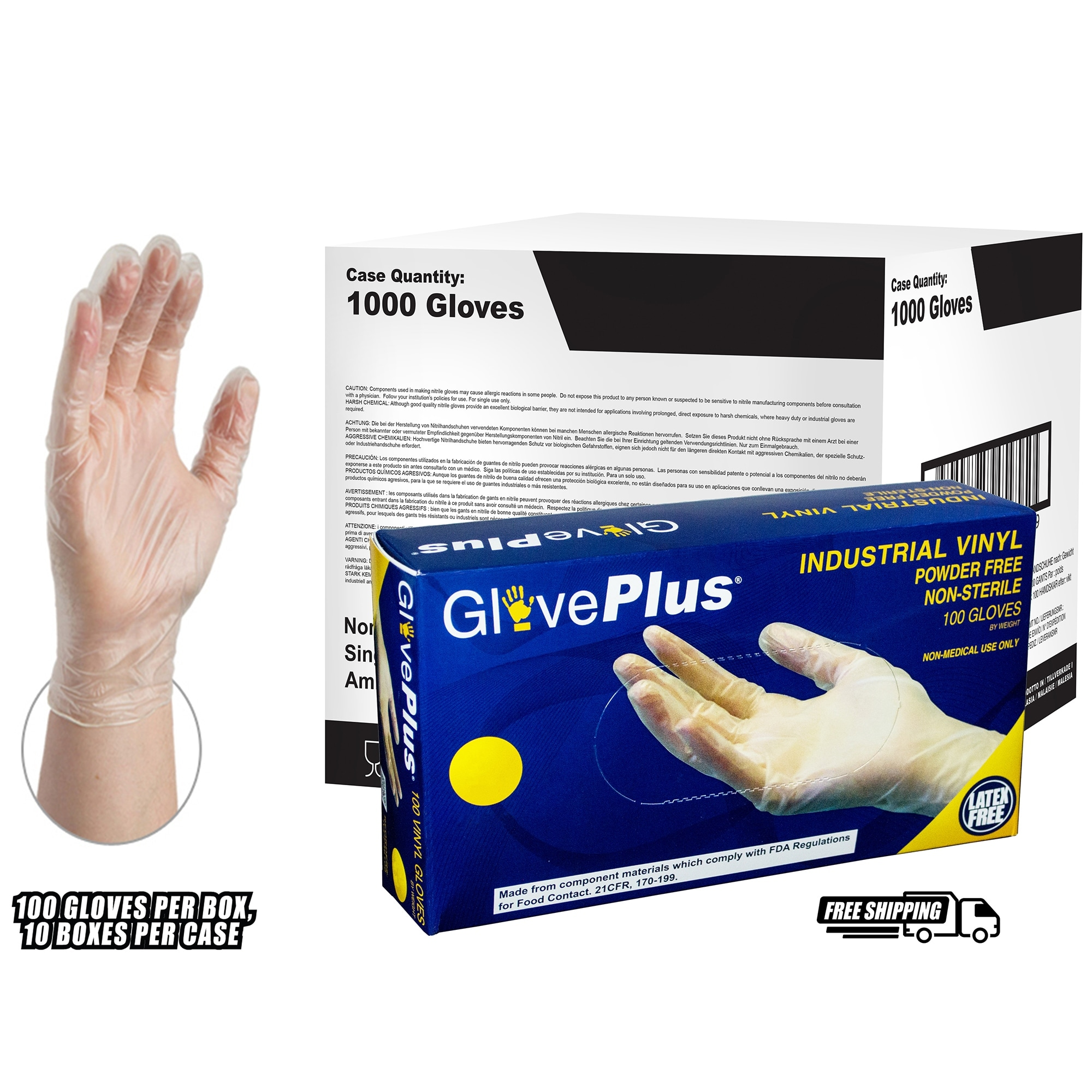 Shop Gloveplus Ivpf Clear Vinyl Industrial Latex Free Disposable Gloves Case Of 1000 By Ammex Overstock 15434193