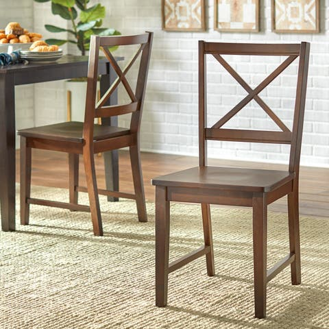 Simple Living Solid Wood Crossback Dining Chairs (Set of 2)