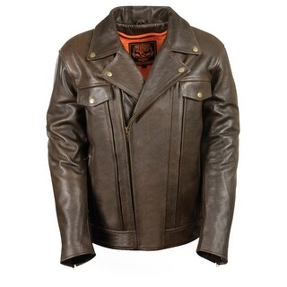 Mens Retro Brown Leather Utility Pocket Motorcycle Jacket