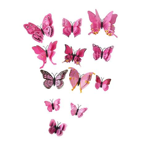 3D Butterfly Wall Sticker Decal with Double Wings with Sticker Pink