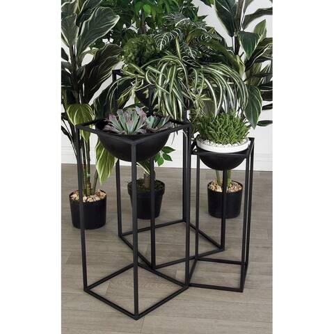 Black Iron Modern Planter (Set of 3) - 13 x 13 x 28Round