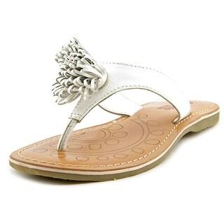 Academie Studio Pom Pom Too Open Toe Leather Thong Sandal