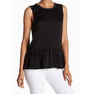 ATM NEW Black Womens Size Medium M Ruffled Peplum Sleeveless Blouse