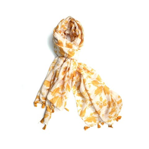 Handcrafted Abstract Floral Printed Spring Summer Scarf with Fringes