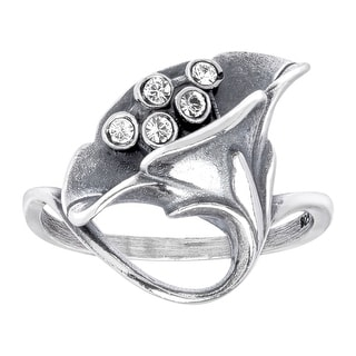 Van Kempen Art Nouveau Calla Lilly Ring with Swarovski Crystals in Sterling Silver - White